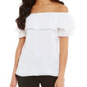 H Halston White Off the Shoulder Top Ruffle Detail